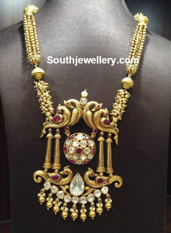 Antique Gold Necklace with Peacock Pendant - Jewellery Designs