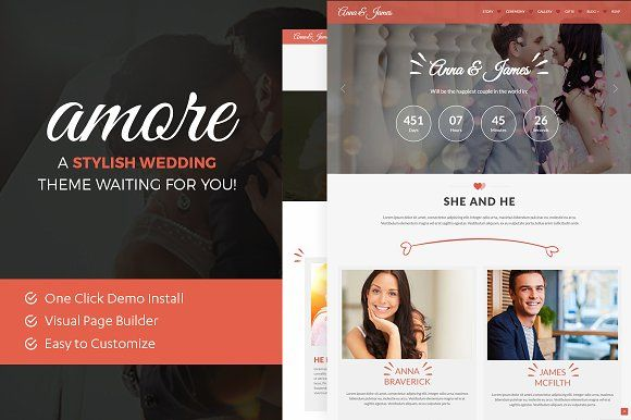 Amore: WordPress Wedding Theme by ThemeBear on @creativemarket