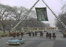 President Eisenhower invites King Saud for a state visit 1957. Eisenhower wants to renew the lease on the Dhahran airbase, a useful strategic asset in the Cold War. Saud wants the money that the U.S. will pay to extend the lease. And he privately promises to suspend all aid to Egypt. To this day, the agreement that Faisal and Eisenhower sign constitutes the basis of U.S.-Saudi military cooperation. But Saud soon spends the revenues from the Dhahran lease on luxury trips to Europe and falls…