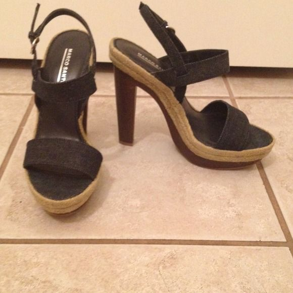 "Price Drop! Denim Heels; NWOT! Denim Heels with raffia and faux wooden detail. 5"" heel with 1"" platform. Never worn. Love just no place to go!  Marco Santi Shoes Heels"