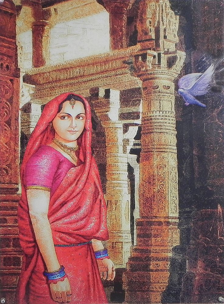 Lonely Rajput Lady in the Palace (Reprint on Paper - Unframed)