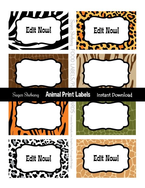 Jungle Party Labels  Instantly Downloadable and by SugarShebang
