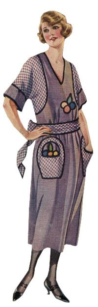 apron dress | 1922- Adorable purple gingham apron dress with embroidered basket ...
