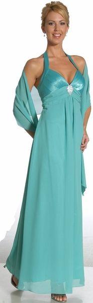 Turquoise Bridesmaid Dress Halter Empire Waist Formal Cruise Dress $34.99