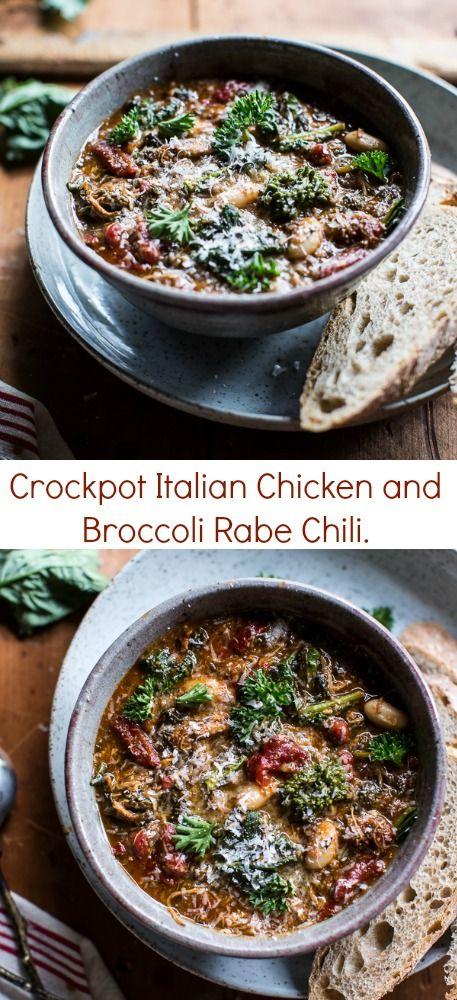 Crockpot Italian Chicken and Broccoli Rabe Chili | halfbakedharvest.com @hbharvest #BroccoliRabe