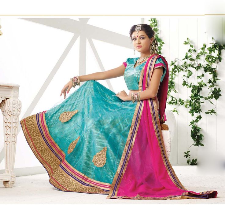 Sky Blue Net Wedding Lehenga Choli 65210