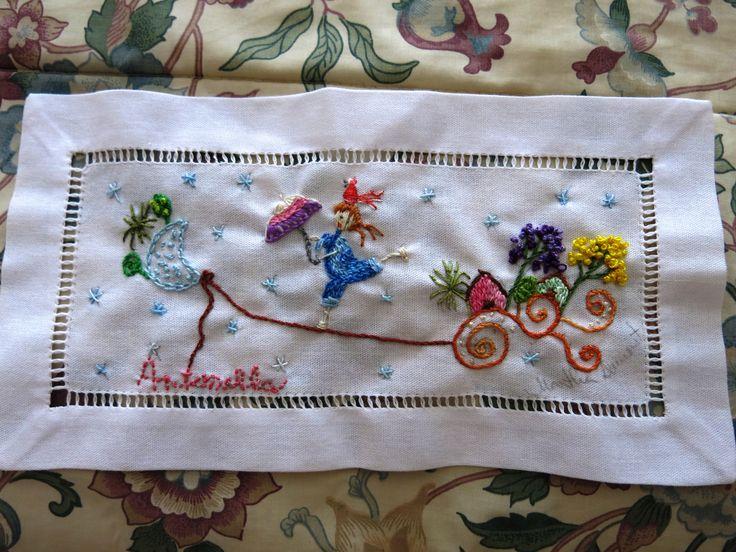passeio da Antonella bordado livre inspirado nos desenhos de matizes Dumont