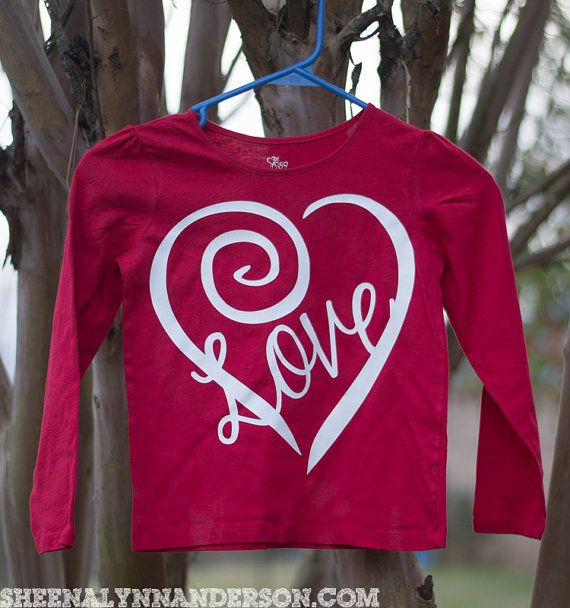 Valentine's Shirt  Curly Heart Valentine's by SheenaLynnAnderson