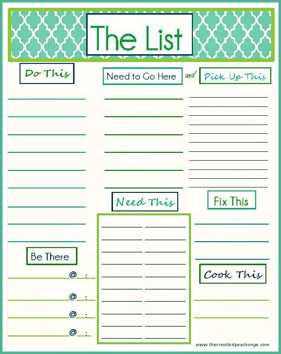 """Free Printable """"To Do"""" List"""