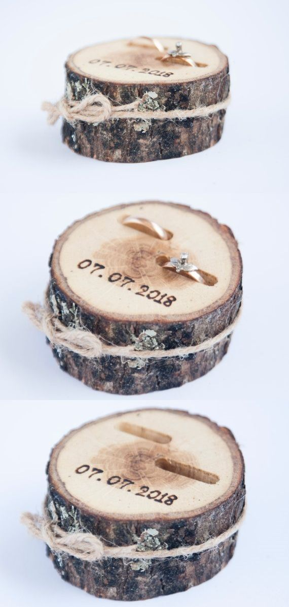 Rustic ring bearer pillow, wedding wood slice, rustic ring box, birch wedding de…