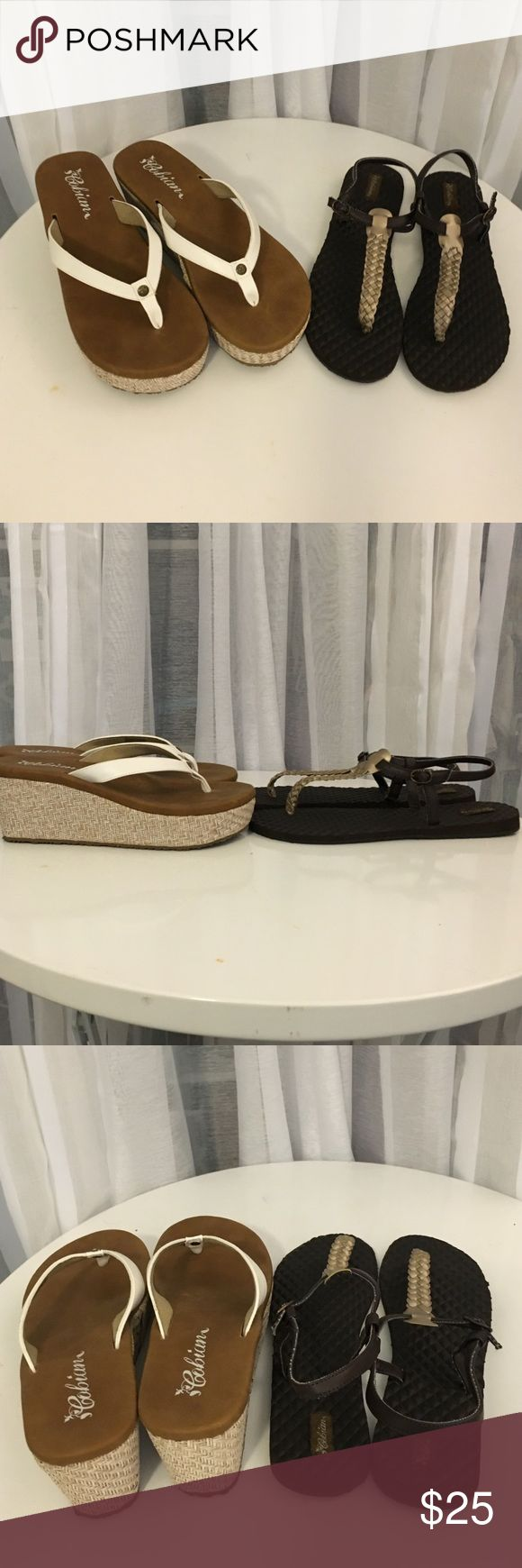 2pairs of Cobian lightweight sandals NWOT Both size 9. Rattan wedge with white straps & brown flats with woven gold straps. Both easy to wear & easy on your feet! Cobian Shoes Sandals