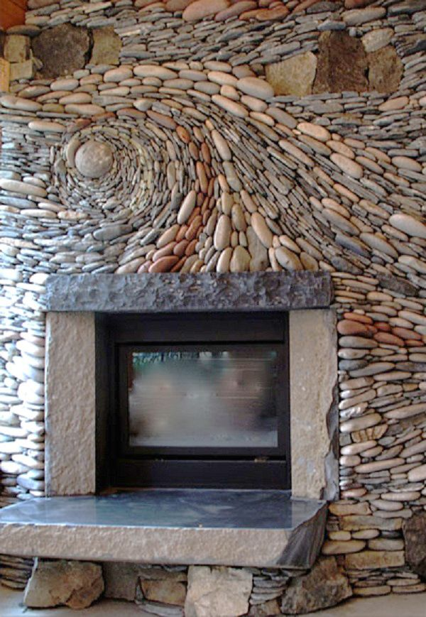 River rock tile river rock fireplace by ancient art of stone for the home garden - Beautiful stone fireplaces that rock ...
