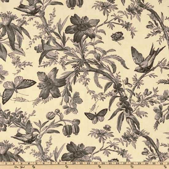 Curtains for either the living room or our bedroom!!!    P Kaufmann Aviary Toile Ebony  Item Number: UE-994  Our Price: $16.98 per Yard    • Contents:  100% cotton  • Fabric Weight:  medium weight  • Washing:  Dry Clean   • Width:  54''  • Collection:  Aviary Toile  Description: This fabric is screen printed on cotton, has a soil and stain resistant coating. Colors include black and grey on a cream background.
