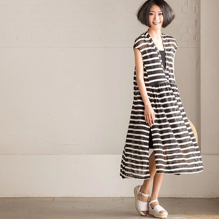 Stripe Summer outfits dress women clothes fashion
