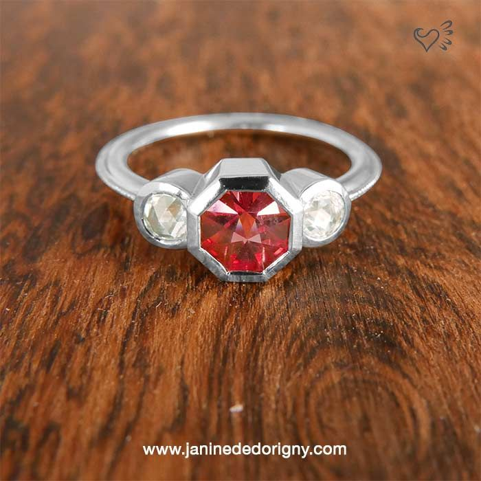 Spinel, diamond and white gold engagement ring.