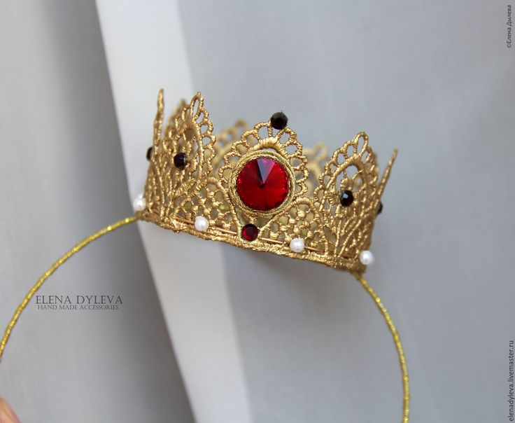 Купить Корона из кружева золотая. Корона из кружева на ободке. - золотой, однотонный, красный, корона на голову
