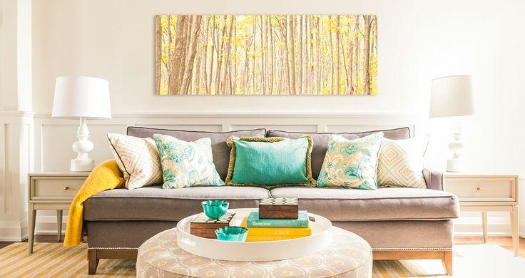 Fia Interiors Living Room Design. Custom Carmichael Sofa, Boston Ottoman and toss cushions. Side table by Burnett. Striped rug by Elte.