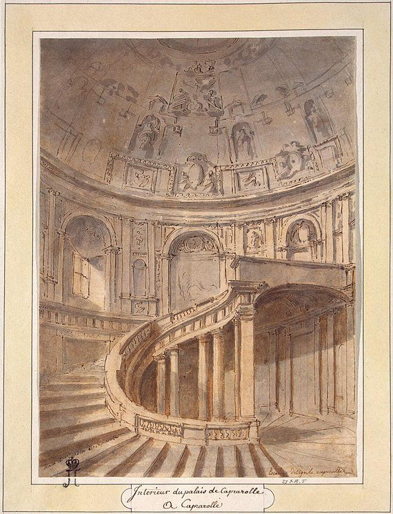 Charles-Louis Clérisseau Staircase in the Palazzo Farnese in Caprarola