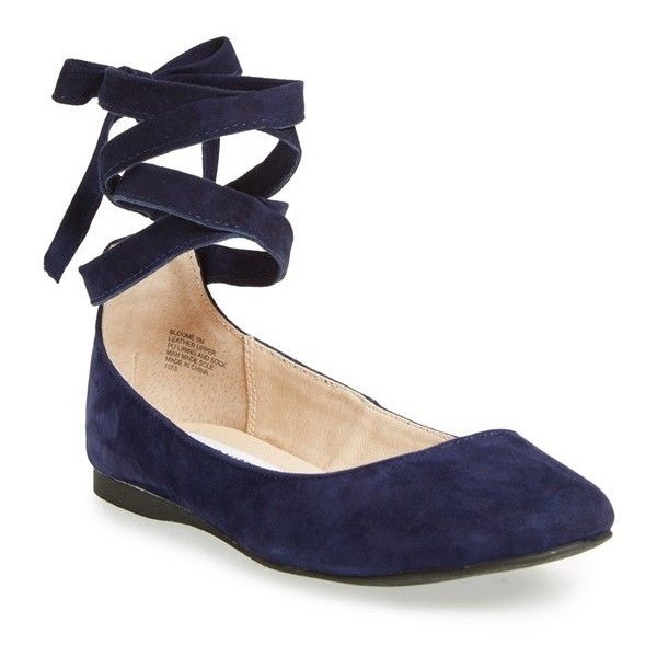 Women's Steve Madden 'Bloome' Wraparound Tie Flat (£61) ❤ liked on Polyvore featuring shoes, flats, navy suede, ballerina flat shoes, ballet flats, round toe flats, navy blue flats and flat shoes