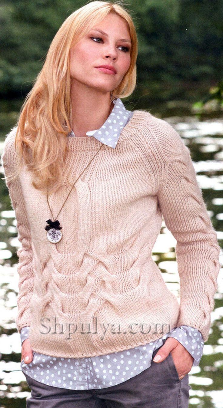 Пуловер с косами, вязаный спицами
