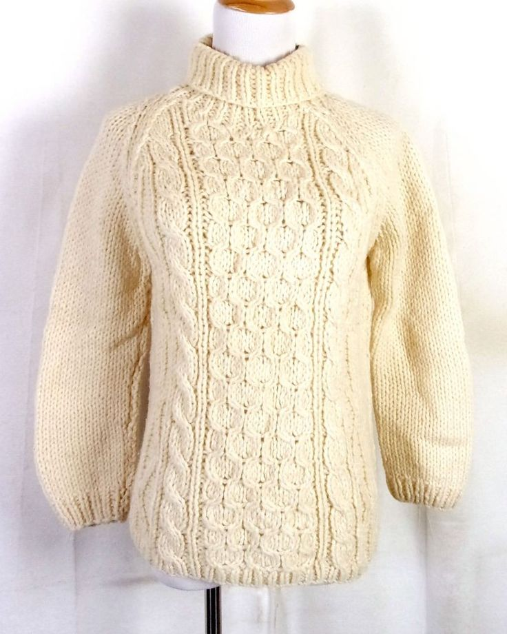 vtg 60s Marietta Larsen 100% Wool Cable Knit Sweater Fisherman made in Italy S/M