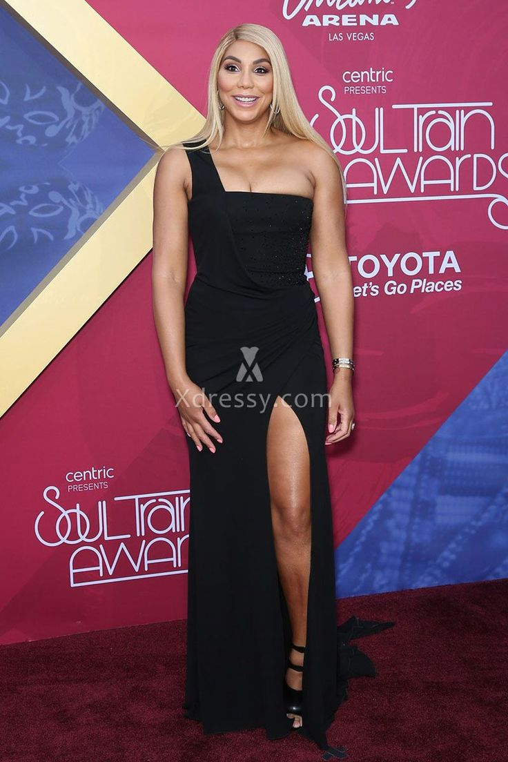 Tamar Braxton Sexy Single Strap Slit Skirt Black Prom Dress Soul Train 2016