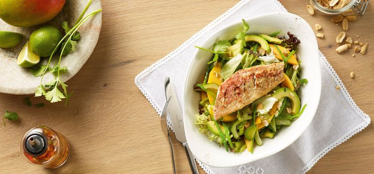 Insalata di Triglia • Crispy fried red mullet on a bed of fruity salad with mango, avocado, crunchy snow peas, lettuce and fresh cucumbers with sweet and spicy lime chili dressing.  Topped with roasted peanuts and coriander.