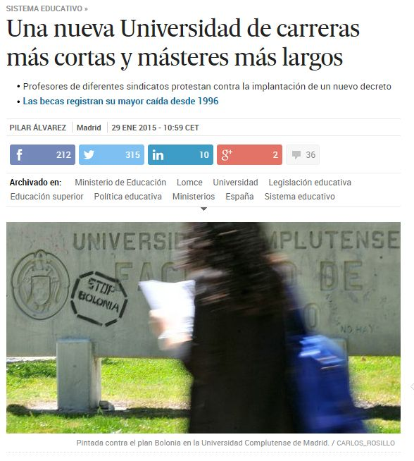 Una nueva Universidad de carreras más cortas y másteres más largos / @el_pais   #universidadencrisis