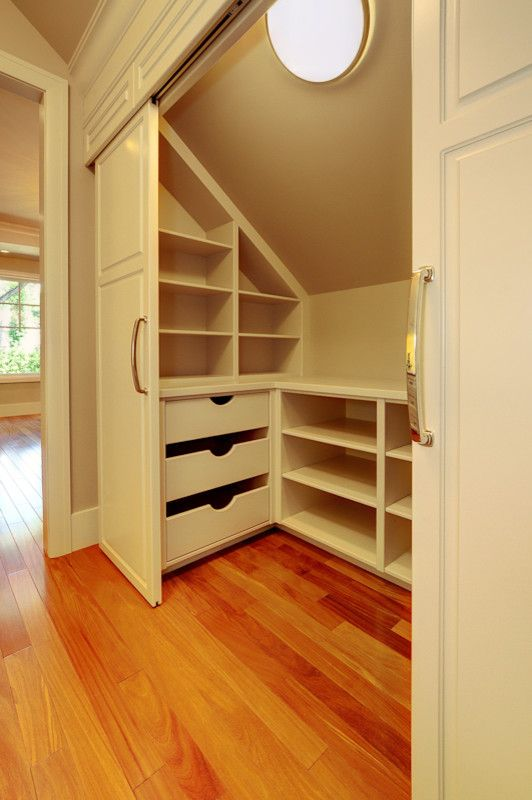 Upstairs closet, these shelves would work great. Also add the molding and new doors.