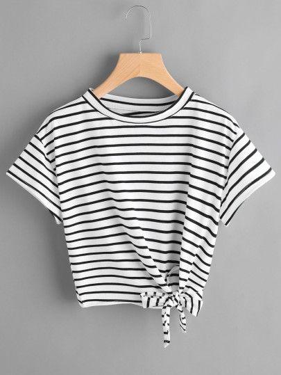 Camiseta de rayas con nudo lateral