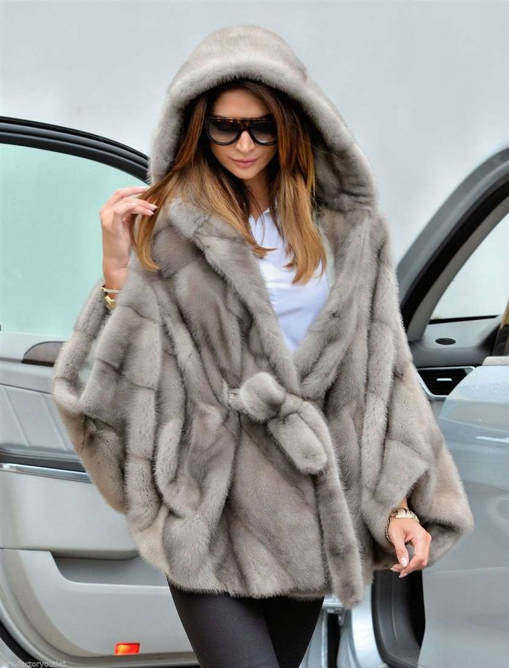 mink furs - italy platinum royal saga mink fur poncho with hood