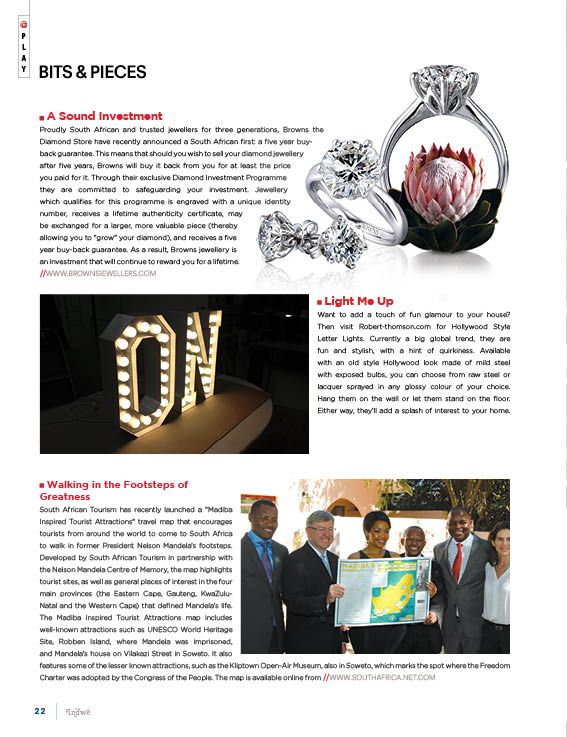 """In This Page: Sound Investment with Browns Jewellers.    Glamour home lights with Rober-thompsom.com.  Madiba Inspired Tourist Attractions"""" Travel Map with SA Tourism and the Nelson Mandela Center of Memory"""