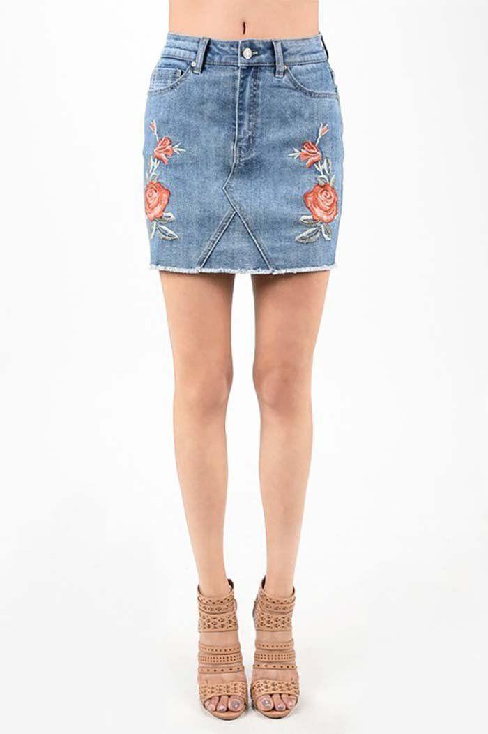 2a72ad6045 Victoria Embroidery Floral Denim Skirt : Medium Light Blue – GOZON Boutique