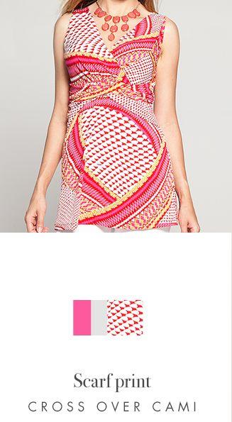 Scarf Print Cross Over Camisole - Kim & Co