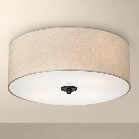 """Bronze with Off White Shade 18"""" Wide Ceiling Light Fixture"""