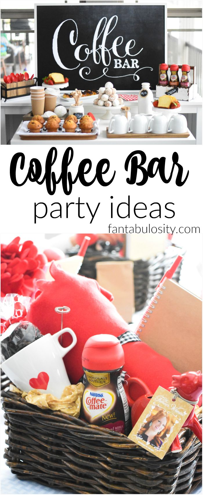 "I can SO do this!!! Coffee Bar Party: ""You've Warmed My Heart,"" theme! LOVE what she did as a random act of kindness with her guests! DIY Coffee bar ideas galore, and SO easy!"