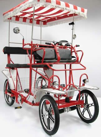 I want one of these!Two (2) Person Four (4) Wheel Surrey Bike (Bicycle) Quadricycle Quadracycle