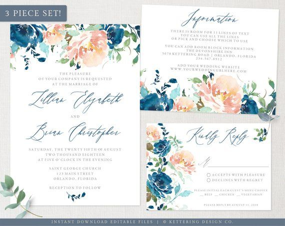 Wedding Invitation Set Template Blue And Peach Watercolor Floral