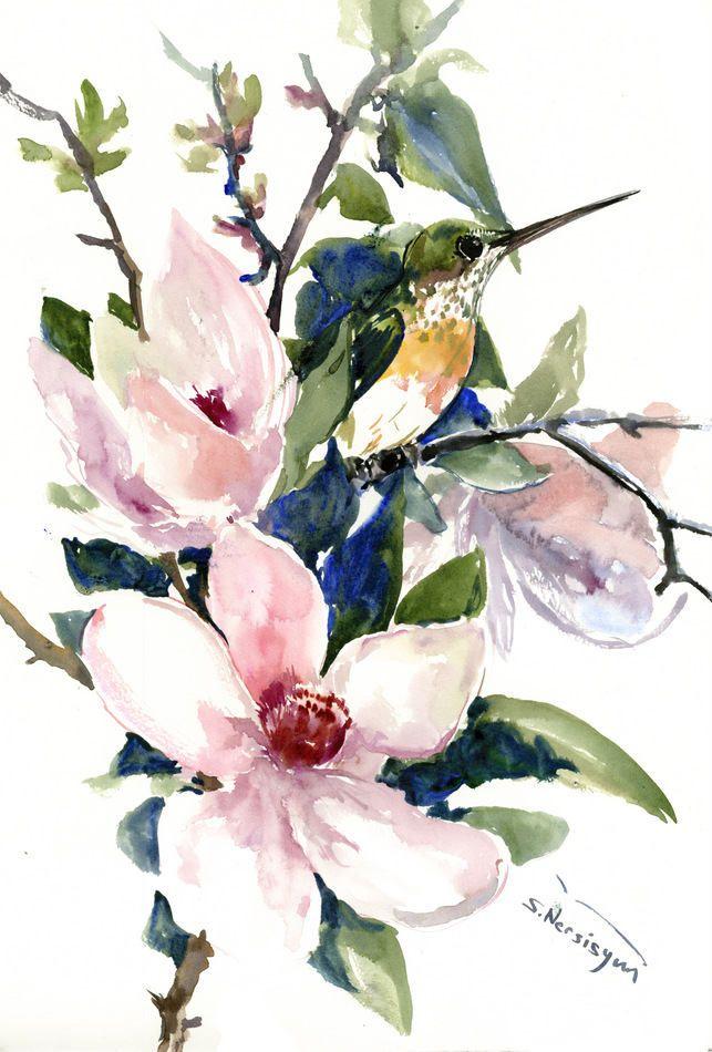 Hummingbird And Magnolia Flowers Birds And Flowers Artwork Green