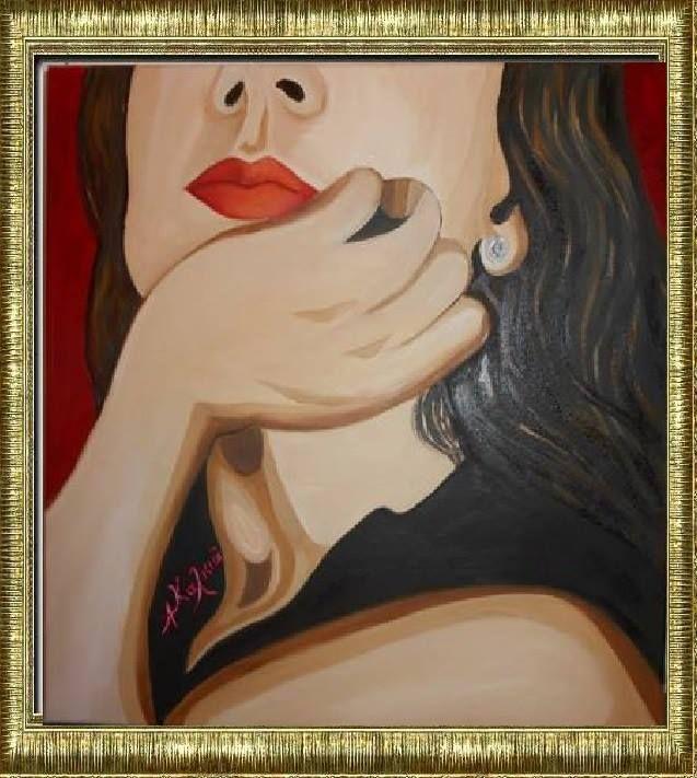 μια γυναικα ...... .ζωγραφικη με λάδι  σε μουσαμά 40x40 cm  fanfatal oil painting on canvas  40x40 cm