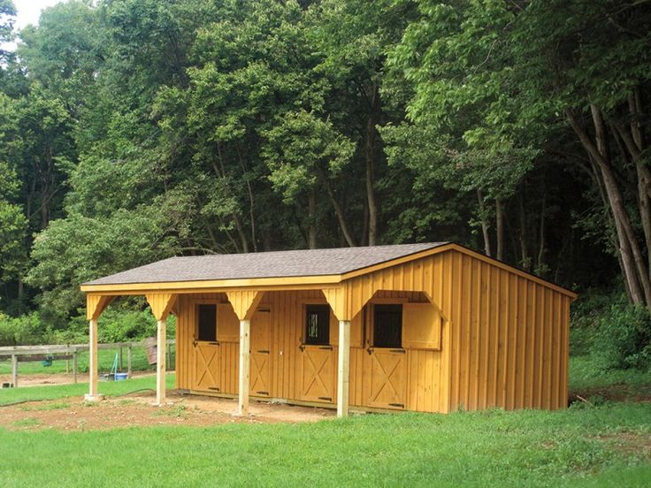 10 x 36 Shed Row Horse Barn with 8' overhang | Penn Dutch Structures