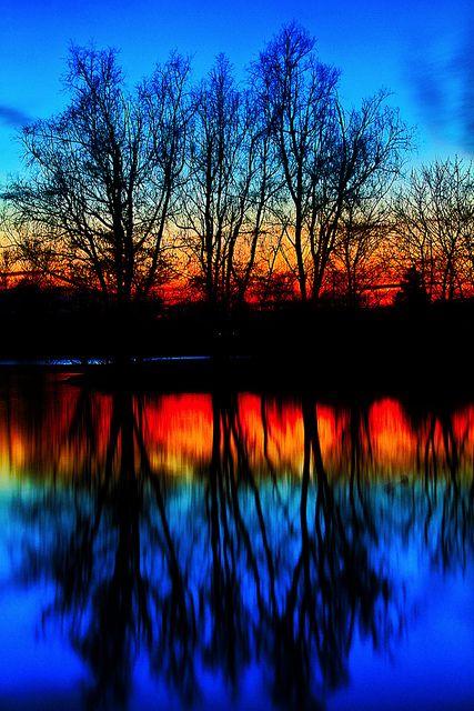 Sunset over pond.