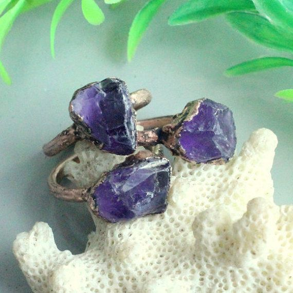Brazilian amethyst crystal ring statement ring electroformed