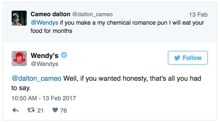 Wendy's is literally the most savage thing I've ever seen on Twitter. I love them so much.