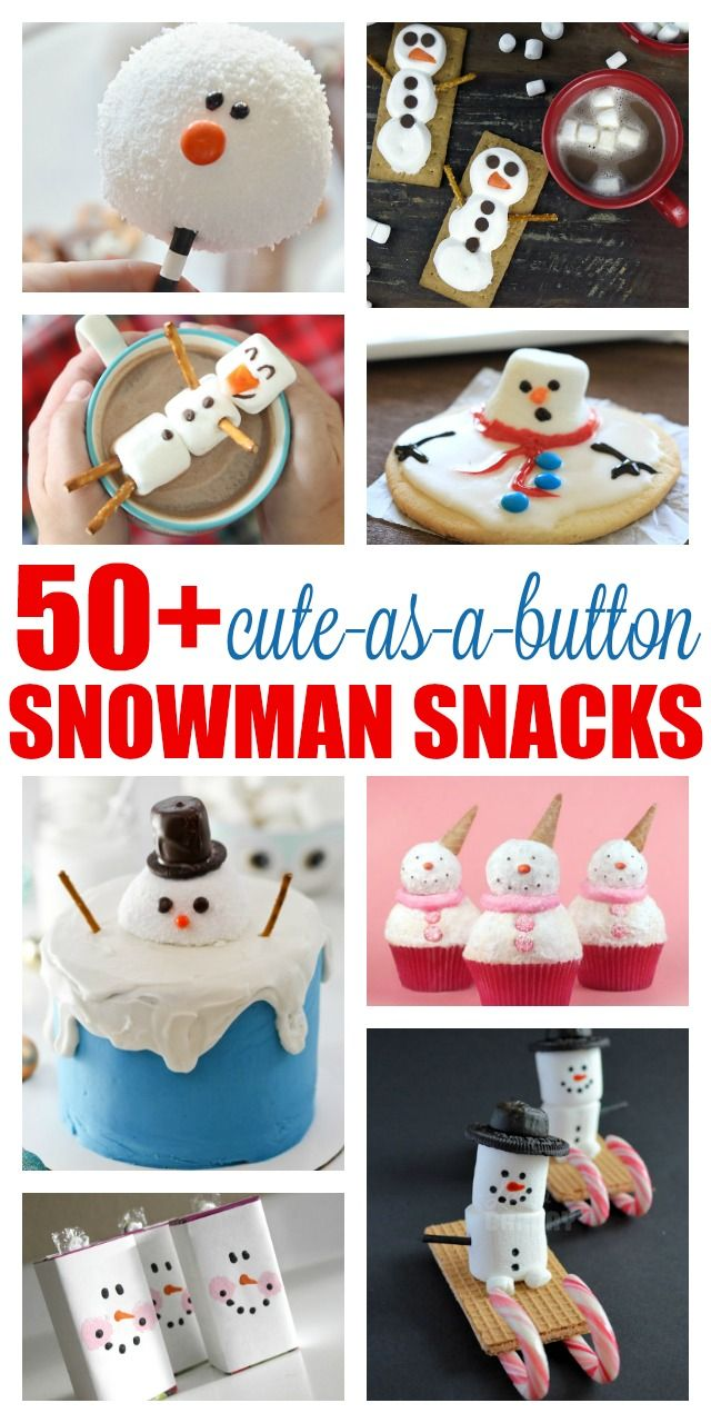 Celebrate snowy days with one of these 50+ cute-as-a-button-nose snowman snacks and beverages. This is the ultimate collection of sweet and savory snowman treats, including melted snowman cookies, marshmallow snowmen and Olaf-inspired cheese sticks and Fr