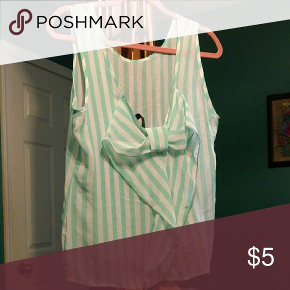 SALE BOGO free mint Bow back tank Mint and white sheer top Tops Blouses