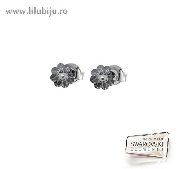 Cercei Swarovski Elements™ - Flori Margaritas Silver Night by LiluBiju (copyright)