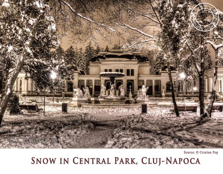 Snow in Central Park, Cluj-Napoca