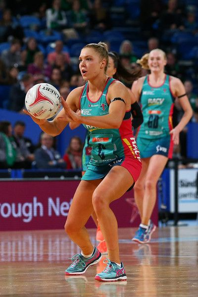 Kate Moloney of the Vixens passes the ball during the round 14 Super Netball match between the Fever and the Vixens at Perth Arena on May 27, 2017 in Perth, Australia.