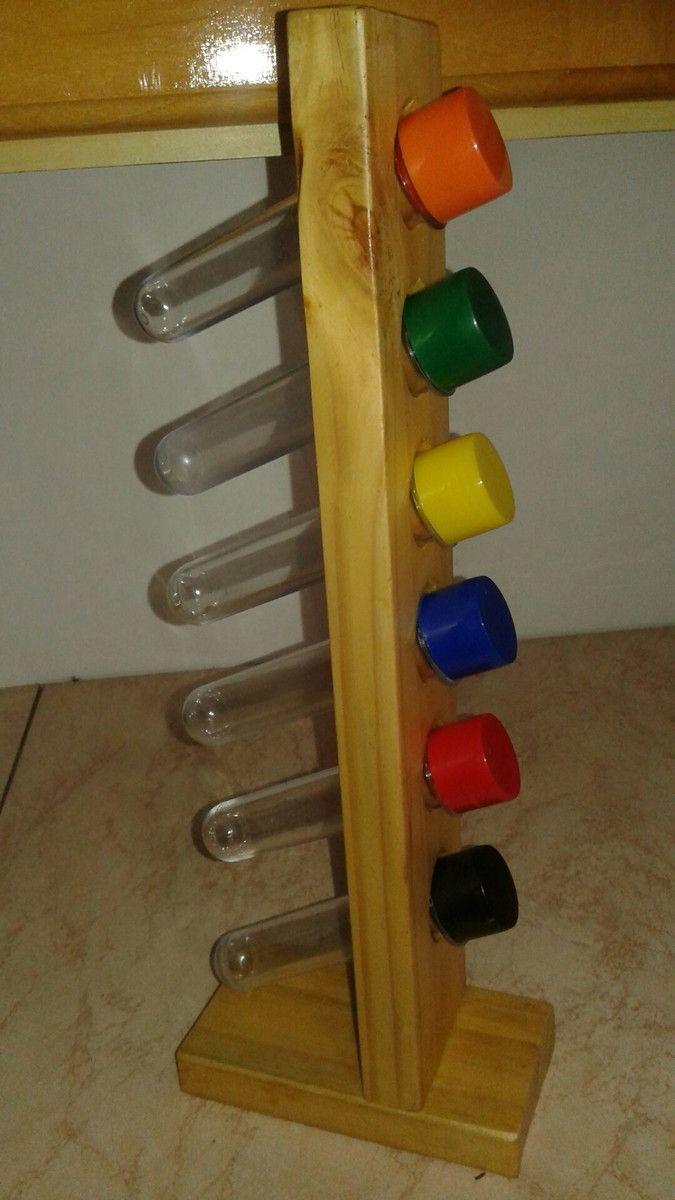Porta-Tempero feito a partir de madeira reaproveitada de pallets. Criando e colorindo a vida!